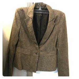 Ann Taylor Brown Tweed Jacket - Size 8